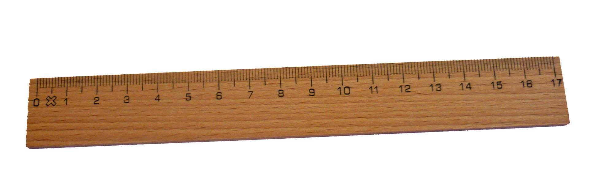 Holzlineal 17 cm // Buchenholz Lineal mit Metalleinlage Brunnen