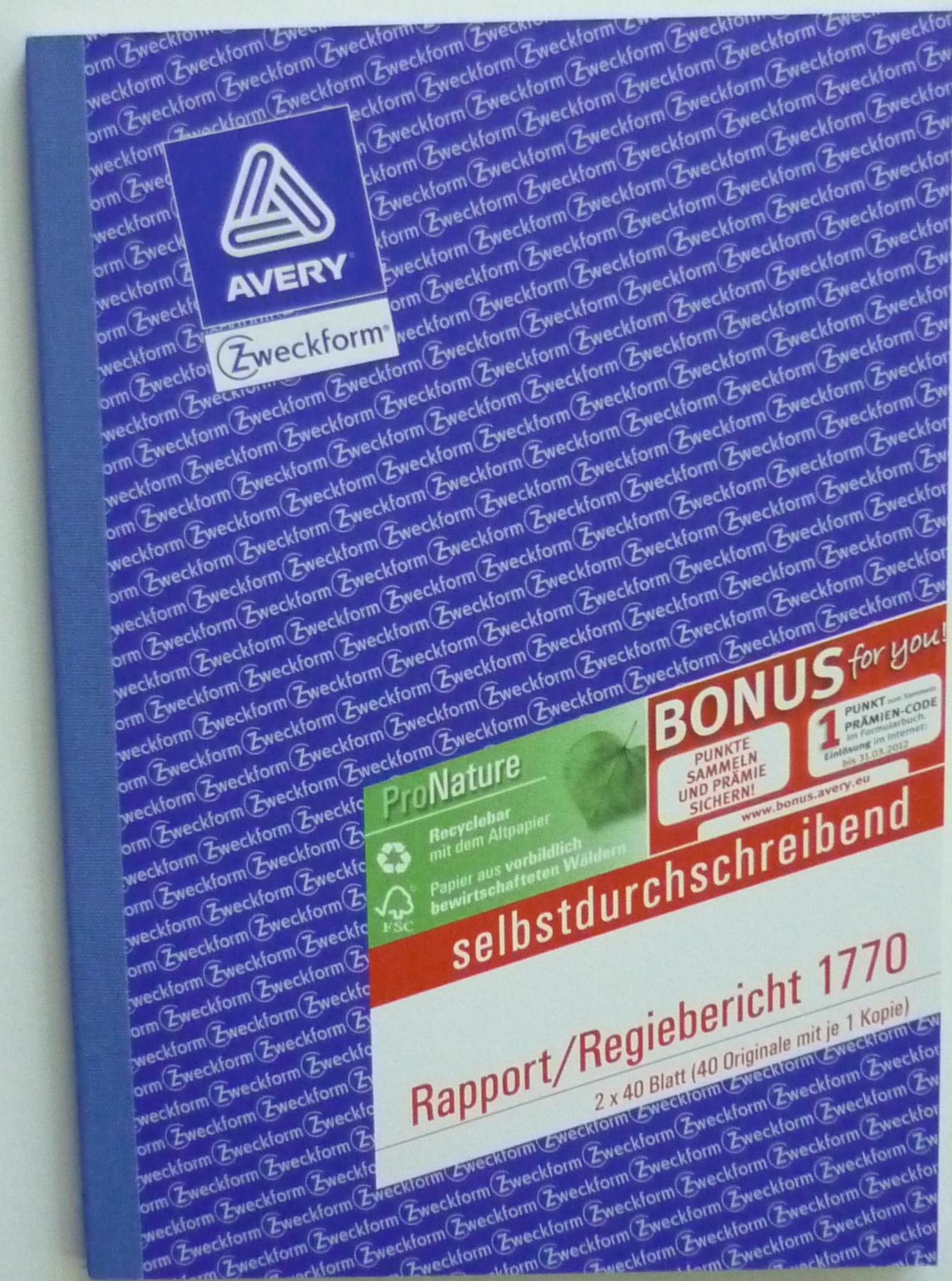 Rapport/Regiebericht A5 Zweckform 1770
